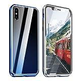 ZXK CO iPhone X Hülle Magnet, iPhone XS Einteiliges 360 Grad Vollbildabdeckung Gehärtetes Glas Handyhülle mit Panzerglas Rückseite Vorne und Hinten Case Cover für iPhone X iPhone XS 5.8 Zoll