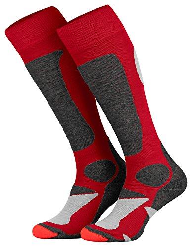 Piarini 2 Paar Unisex Skisocken Skistrumpf Herren, Damen und Kinder für Wintersport, Snowboard atmungsaktive Knie-Strümpfe Farbe Rot Gr.43-46
