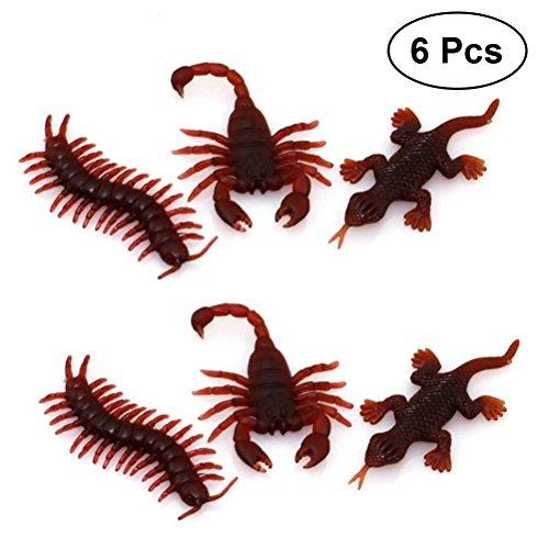 (TOYMYTOY Kunststoff Insekt Gefälschte Centipede Scorpion Gecko Figuren Spielzeug Simulation Prop für Halloween Aprilscherz 6 Stück)