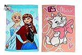 Disney – Set da 2 pezzi – Fantastica idea regalo per ragazze – Asciugamano per bambini / fazzoletto / asciugamano per ospiti – 40 x 60 cm – 100% cotone 1 x Marie e 1 x Frozen.