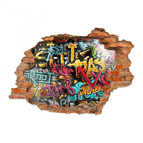 nikima Schönes für Kinder 149 Wandtattoo Graffiti bunt - Loch in der Wand - in 6 Größen - Kinderzimmer Jugendzimmer Wandbild Wanddeko - Größe 750 x 520 mm -