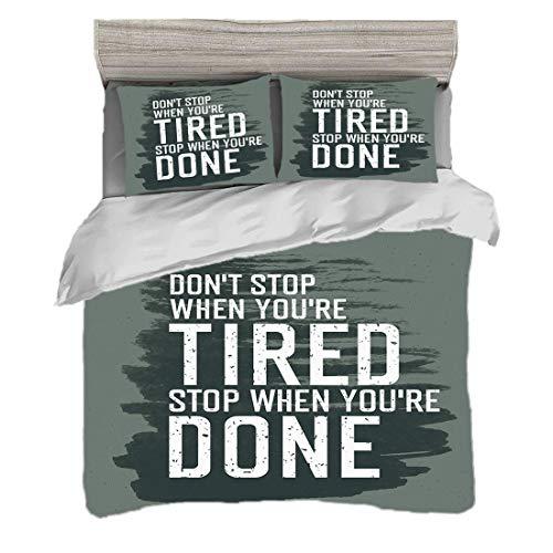 Bettwäscheset (200 x 200 cm) mit 2 Kissenbezügen Fitness Digitaldruck Bettwäsche Motivierend Zitat hören Sie nicht auf, anzuregen, Pinselstriche dekorativ, Holzkohle-Grau-Schwarz-Weiß in Bewegung zu h (Holzkohle Grau Bettbezug)