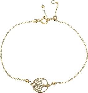 """Gioiello Italiano - Bracciale in oro giallo""""Albero della Vita"""", lunghezza regolabile tra 11 e 20cm, da donna"""