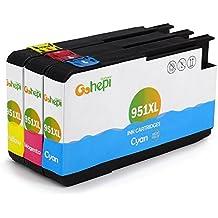 Gohepi 951XL Compatible para Cartuchos de tinta HP 951XL 951, Cian/Magenta/Amarillo Pack de 3 Trabajar con HP Officejet Pro 8620 8610 8600 Plus 276dw 8100 8615 251dw 8625 8660 8640 8630