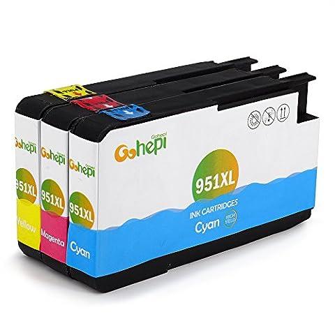 Gohepi 951XL Compatible pour Cartouches HP 951XL 951, Cyan/Magenta/Jaune Pack de 3 Travailler avec HP Officejet Pro 8620 8610 8600 Plus 276dw 8100 8615 251dw 8625 8660 8640 8630