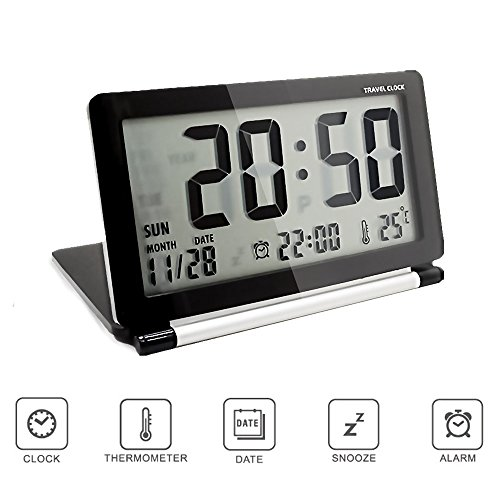 Pingenaneer multifunzione silenzioso travel digitale sveglia,data ora calendario temperatura display,snooze orologio -nero