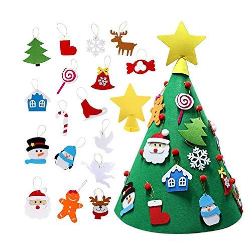 AOLVO Albero di Natale in Feltro Fai da Te con 18 Pezzi di Ornamento Staccabile Bambini Regali Cono 3D Albero di Natale per Decorazioni di Natale Opere d'Arte Fatte a Mano Facile Assemblaggio