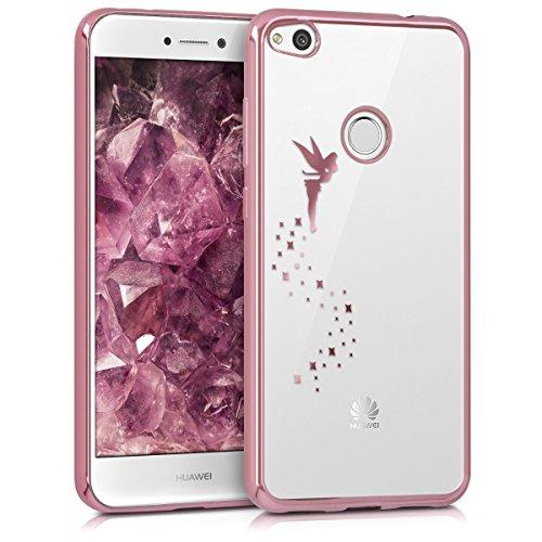 Kwmobile cover per huawei p8 lite (2017) - custodia protettiva in silicone tpu cristallo trasparente - back cover case cellulare oro rosa/trasparente