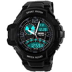 ufengke® mode cool double affichage de l'heure lumineuse montre de sports de plein air pour les hommes des garçons, randonnée meilleure montre électronique de plongée un bracelet