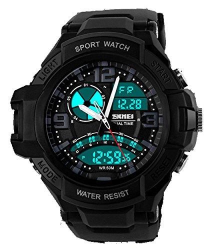 ufengke® Mode kühlen Dual-Time-Anzeige Leucht Outdoor-Sportarten Armbanduhren für Männer, Jungen, besten Wandern Tauchen elektronische Handgelenk Armbanduhren