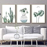 qiumeixia1 Nordic Poster Green Leaf Monstera Wall Art Canvas Painting Watercolour Plant cactus print Pictures for Living Room Home Decor 50 * 70cm No Frame