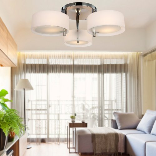 ALFRED Lampadario moderno in acrilico in cromo con 3 lampadine , Flush Mount per studio / ufficio, camera da letto, Soggiorno (con finitura cromata)