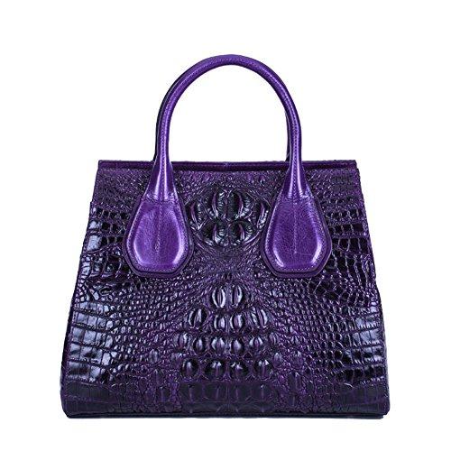 Jsix Borsa in Vera Pelle Borse a mano Donna Croc Paten Designer Tote Violet