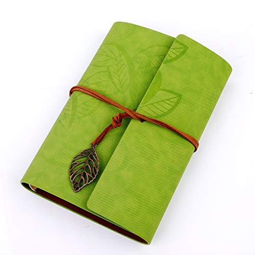 Diario di viaggio in ecopelle vintage taccuino pagina bianca quaderno per quaderno degli appunti memo agenda,verde scuro