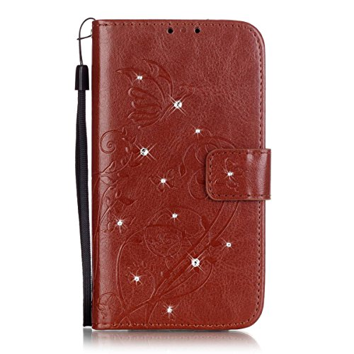iPhone 4S Hülle,SainCat Apple iPhone 4/4S Ledertasche Brieftasche im BookStyle PU Leder Wallet Case Lederhülle Folio Reliefprägung Schmetterling Schutzhülle Bling Glitzer Strass Diamant Hülle Bumper H Schmetterling Diamant-Braun