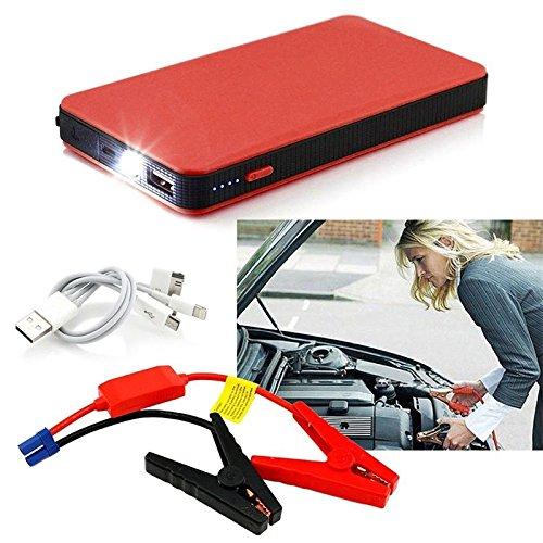 JEANS DREAM Avviatore Batteria Emergenza per Moto/Auto 500A 6000mAh 12V Adatto a Auto Cilindrata Inferiore a 2.0L, Anche per Cellulari Notebook ECC (Rosso)