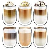 Glastal Doppelwandige Latte Macchiato Glaser Set Kaffeeglas Trinkgläser 6-teiliges 350ml (Volle Kapazität)