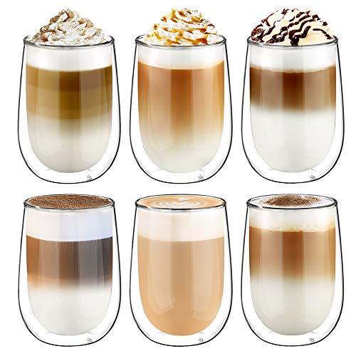 Glastal Doppelwandige Latte Macchiato Glaser Set Kaffeeglas Trinkgläser 6-teiliges 350ml (Volle Kapazität) Macchiato-set