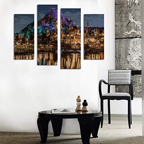 Canvasaint Bilder Leinwand Wandgemälde Wand Kunst für das Leben der HD Inkjet-Malerei Bild des Vorgebirges Burg Lichter Boat House Dekoration Wandbilder Malen auf Ca Nvas