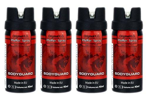 GYD Familienpack 4x Bodyguard 40ml. Orginal K.O. Pfefferspray für die Selbstverteidigung gegen Aggresive Angriffe