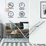 VILSTEIN Flügelwäscheständer, Elektrisches Trockengestell aus Aluminium, stabil, klappbar und Platzsparend, 1480 x 540 mm, Silbergrau - 4