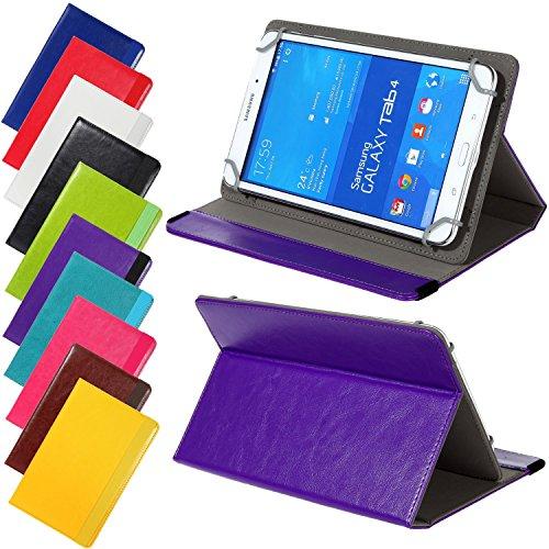 Universal elegante Kunstleder-Tasche für verschiedene Tablet Modelle (7 / 8 Zoll, Violett) Größe Schutz Case Hülle Cover, Neigungswinkel verstellbar, mit Gummibandverschluss
