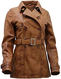 Women's 3/4 Tan Ladies Lamb Nappa Leather Trench Coat