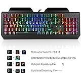 aLLreli Mechanische Gaming Tastatur, K643 Gaming Keyboard(Deutsch QWERTZ Layout, RGB LED- Beleuchtung, USB Kabel Tastatur mit Blaue Switches)