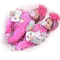 NACHEN Reborn muñeca 42 cm Intermitente Cerrado Ojos simulación bebé marrón Lindo niña muñecas,color1,42cm