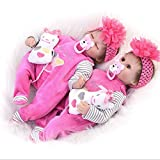 Candyana Wiedergeborene Puppe 42 cm Blinking Closed Eyes Simulation Baby Brown Cute Girl Pink Dolls,42cm