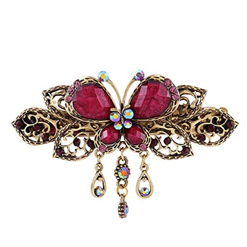 Provide The BestWomen Girls Retro Butterfly Style Hair Clips Beauty Tools Female Crystal Tassel Hair Claw Clamp