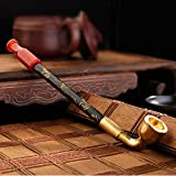Liuyu · Living Home Bolsas de Tabaco Bolsas de Tabaco Manual de la tradición Brass Smoke Pot Onyx Cigarette Holder Smoking Pipe 20cm (Color : Dual-Use Type)
