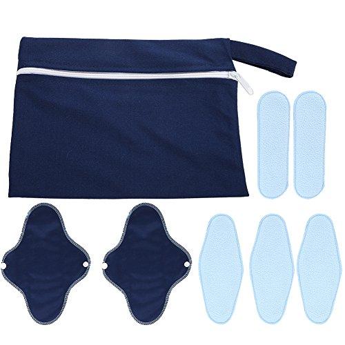 8 Stück Wiederverwendbarer Sanitary Menstrual Pads, wasserdicht Sanitär Tuch Liner mit Waschbarer Nass Tasche -