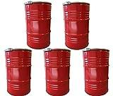 5 x Metallfäßer Volumen 210 Liter Blechfass Fass Ölfass Tonne mit Deckel Rot NEU