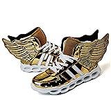 Schulkinder Atmungsaktiv Atmungsaktiv Sportschuhe Freizeitschuhe Laufen Led-Licht mit Flügeln Schuhe,Gold,25