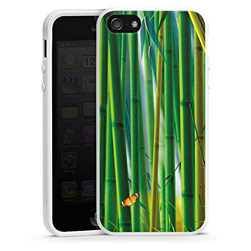 Apple iPhone 4 Housse Étui Silicone Coque Protection Bambou Papillons Nature Housse en silicone blanc