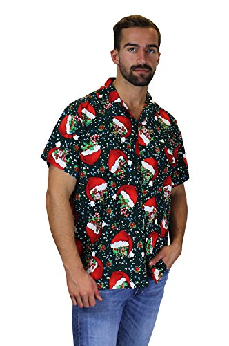 King Kameha Original Funky Hawaiihemd | Herren | XS - 6XL | Kurzarm | Front-Tasche | Hawaii-Print | Weihnachten Santa Heiligabend | Verschiedene Designs FlyingHatsGreen