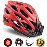 Shinmax Specializzata del Casco Bici con Luce di Sicurezza, Sport Regolabile in Bicicletta Casco della Bici Caschi da Bicicletta per Strada e Mountain Bike, Motociclo a Uomini & Donne di Età, la Gioventù - Racing, Protezione e Sicurezza (Rosso)