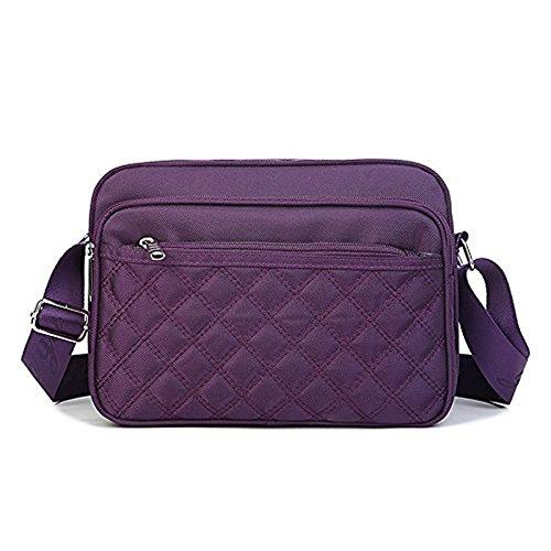 Meoaeo Wasserdichtes Nylon Tasche, Umhängetasche, Sportbeutel, Multi Pocket Wasserdichtes Nylon Tasche, Kaffee Deep purple