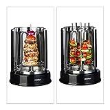 Relaxdays Dönergrill Rotisserie 1400 Watt, Vertikalgrill, Hähnchengrill, 360° Hitzeverteilung, für Döner und Kebab, schwarz -