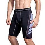 AMZSPORT Herren Fitness Hose Pro Cool Compression Tights Shorts Funktionswäsche Pants BlackWhite L