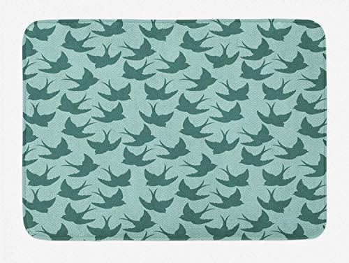 Cargo-chaps (HLKPE Birds Bath Mat, Avian Woodland Animal Silhouettes with Polka Dots Background Fauna Pattern, Plush Bathroom Decor Mat with Non Slip Backing, 23.6 W X 15.7 L Inches, Teal and Mint Green)