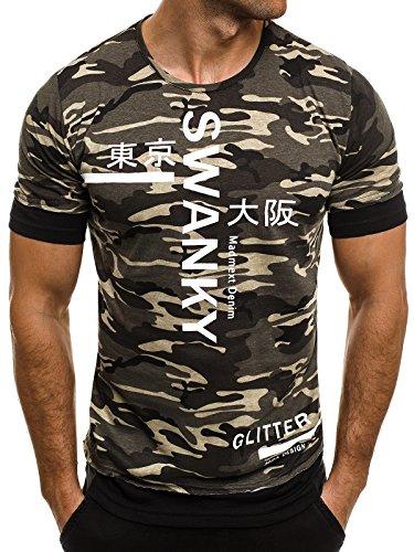 OZONEE Herren T-Shirt mit Motiv Kurzarm Rundhals Figurbetont Camouflage MADMEXT 1898 Grün
