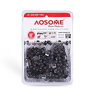 """AOSOME Genuine 18"""" Chainsaw replacement saw chain 72 links .325 0.058"""""""