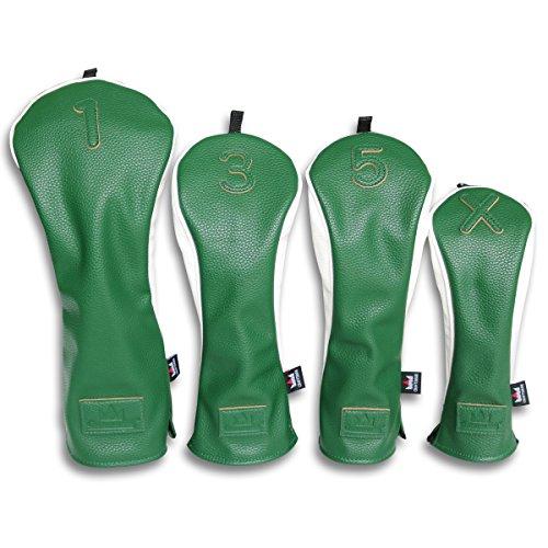 Craftsman Golf Universal grün weiß PU Leder Driver/FAIRWAY HOLZ/Hybrid Schlägerhaube # 1# 3# 5x für alle Marken Callaway Big Bertha Cobra Nike Taylormade Ping Mizuno Titleist, 4pcs(1,3,5,X) (Titleist 5 Holz)