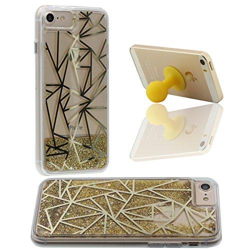 Schutzhülle Für Apple iPhone 7 4.7 inch Hülle Cover Goldpulver Fließen Hart Transparent Flüssiges Wasser Kreativ Geometrie Linie iPhone 7 Case X 1 Silikon Halter gold