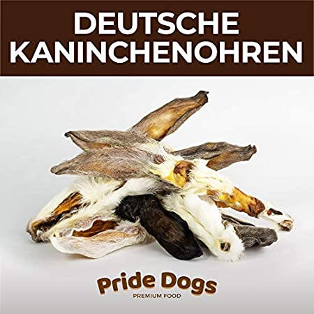 PrideDogs Kaninchenohren mit Fell für Ihren Hund | 100% aus Deutscher Herstellung | im geruchsneutralen Beutel…