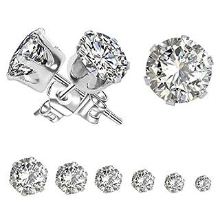 Ohrringe Silber Set, Yohong Edelstahl Ohrstecker 6 Paar für Damen Herren, Elegante Mode Glänzend Zirconia Stein Ohrringe( 3mm-8mm ), Anti-Allergie / Wasserdicht, Geeignet für jedes Alter