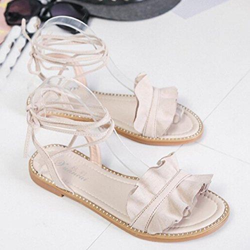 ... Transer® Damen Flach Kreuzgürtel Ankle-strap Sandalen Schwarz Weiß PU- Leder+Gummi 70efbcb49a