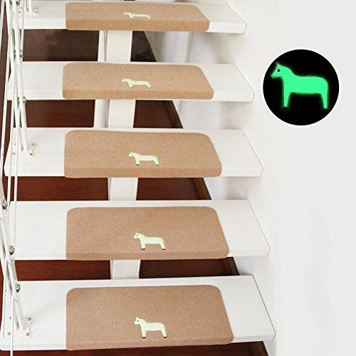 Kuke Stufenmatten Innen Pony-Muster, Rutschfeste Treppe Pads Leuchtende Selbstklebende...